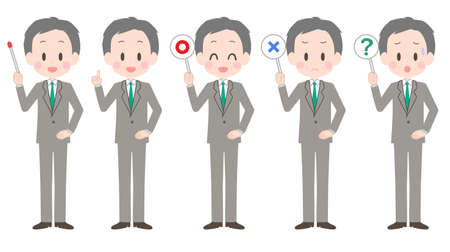 Illustration of a senior businessman with a pointer etc.