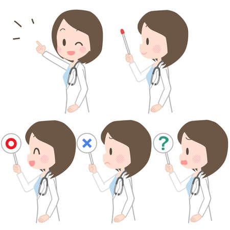 Illustration of a female doctor holding a pointer.  イラスト・ベクター素材