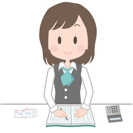 Illustration of a clerk who keeps an accounting book with a smile.