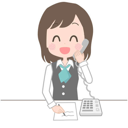 Illustration of a clerk answering the phone with a smile.