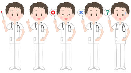 Illustration of a male nurse holding a pointer Illustration