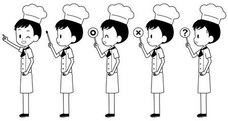 Illustration of a chef with a pointer etc. Çizim