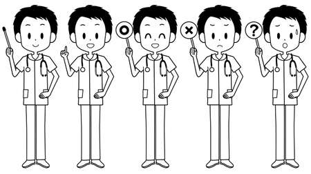 Illustration of a male nurse holding a pointer etc.