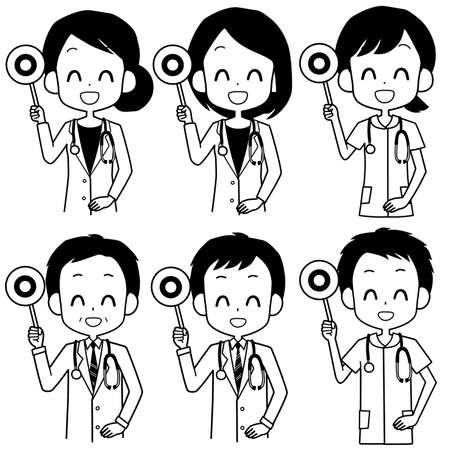 Illustration of a healthcare worker holding a circle-marked placard.