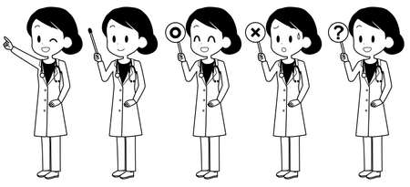 Illustration of a female doctor holding a pointer