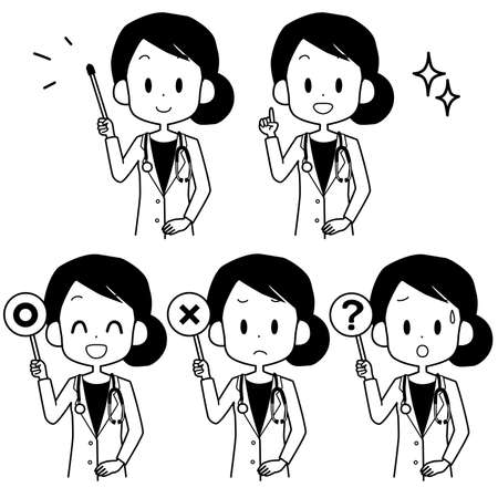 Illustration of a female doctor holding a pointer. Illustration