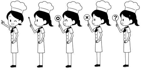 Illustration of a chef with a pointer etc.  イラスト・ベクター素材