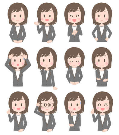 Illustration of a business woman's facial expression set.