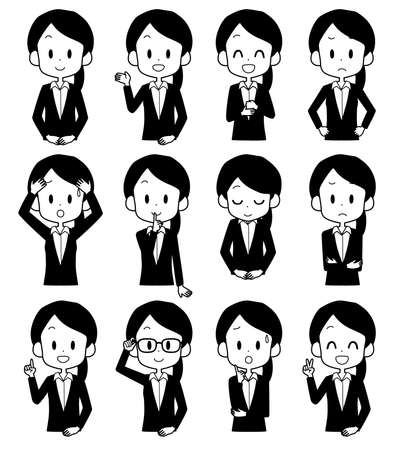 Illustrations of business women with various facial expressions.