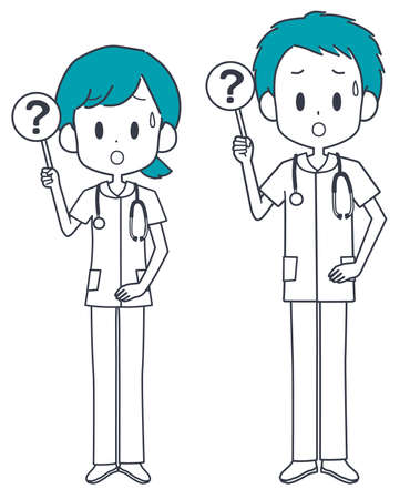Illustration of a nurse holding a question tag.