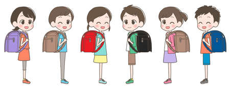 Illustration of an elementary school student carrying a school bag with a smile.