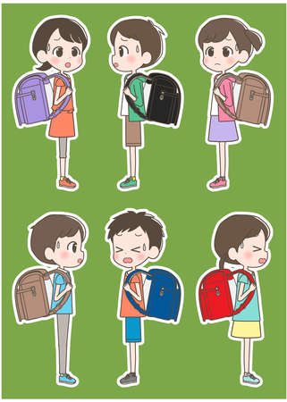 Illustration of an elementary school student carrying a school bag with a troubled face.
