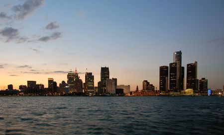 Waterfront downtown skyline at night