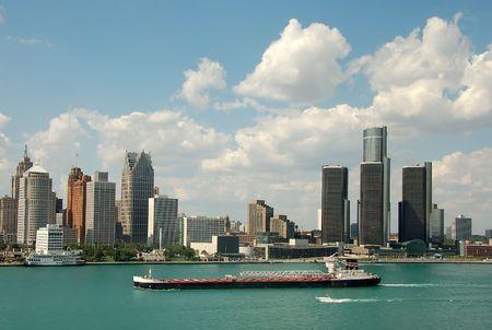 Detroit skyline by day Stock Photo