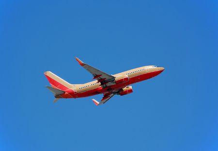 Passenger jet in flight