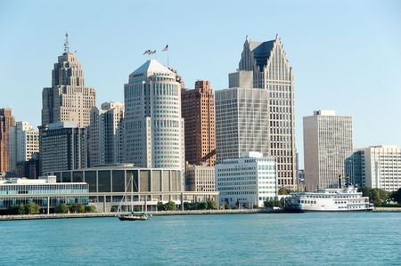 wideview: Detroit city skyline and waterfront in daytime