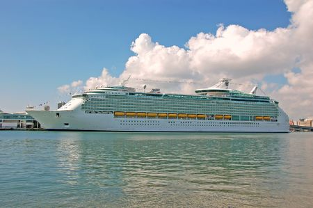 Cruise ship loading passengers