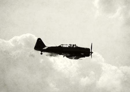 wartime: Artificially agend photo of wartime fighter plane