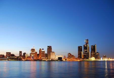 lanscape: Detroit skyline by night