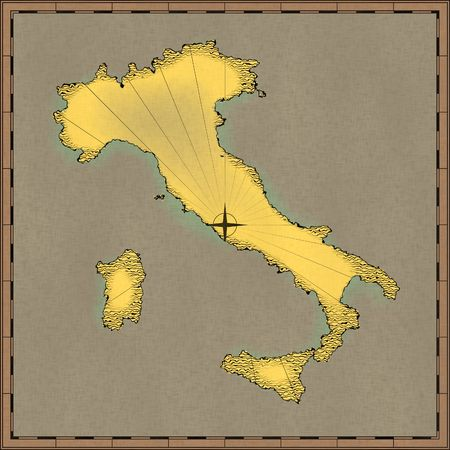 rendered: Antique map of Italy (digitally rendered)