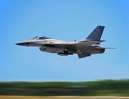 Modern jachtvliegtuig met motion blur Stockfoto