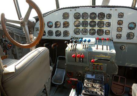 Interior cockpit of Nazi wartime airplane photo