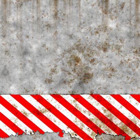 precaution: Illustration of rusty caution sign
