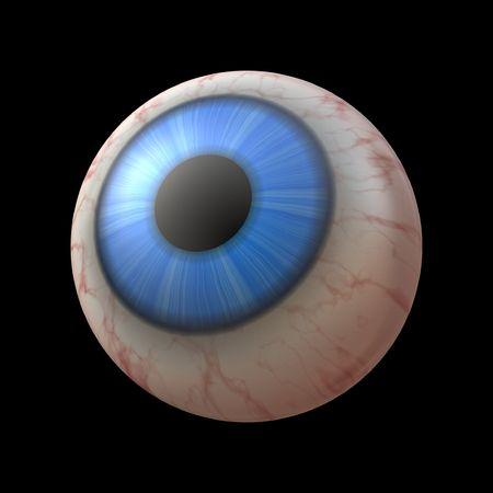 Closeup of human eyeball with blue iris photo