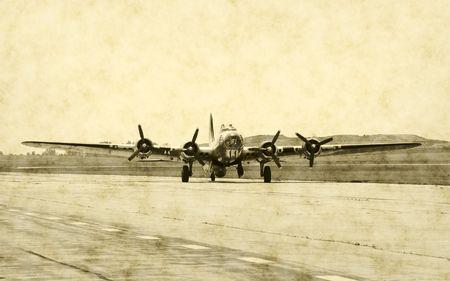 Vintage WWII airplane on runway