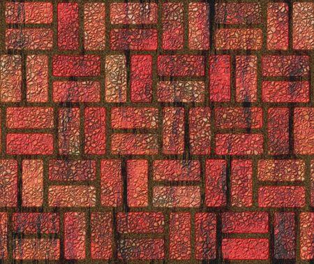 adoquines: Grungy adoquines de ladrillo rojo