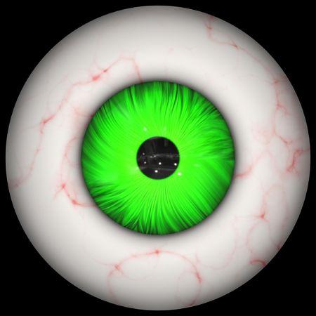 Closeup of human eyeball with green iris photo