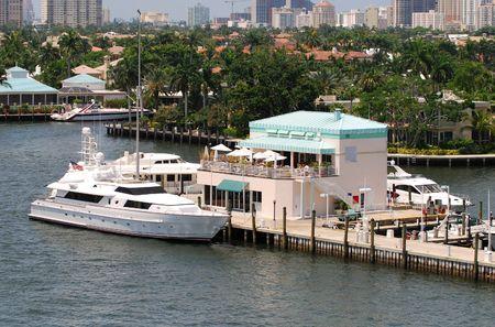 Yacht docked at exclusive marina