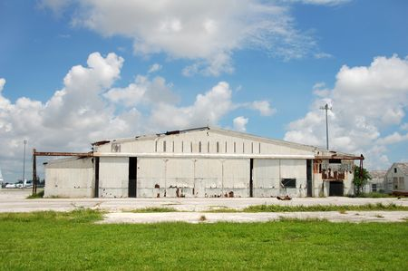 abandoned warehouse: Abandined airport hangar Stock Photo