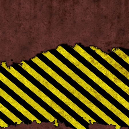 Grunge wall with warning stripes
