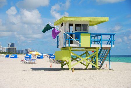 guard house: Yellow lifeguard tower on Miami Beach