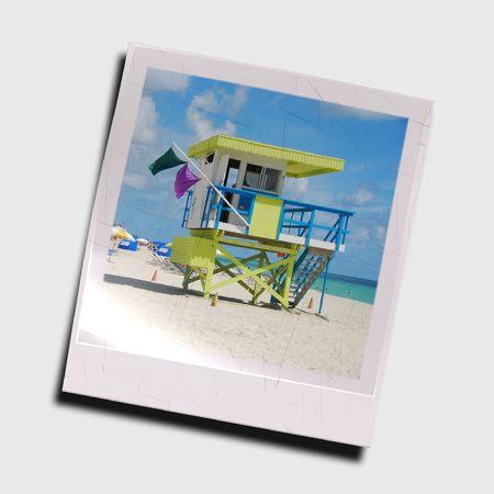 Digitally rendered photo slide of beach scenery photo