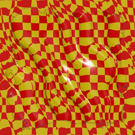 reflective: reflective red and yellow checkered material
