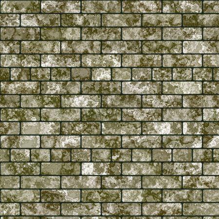 brick and mortar: Old mossy brick wall Stock Photo