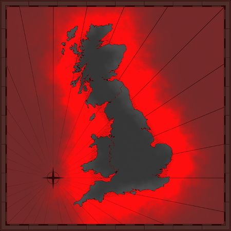 Mapa antiguo de Gran Bretaña Foto de archivo - 1768433