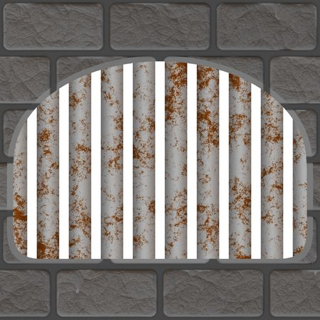 Brick wall with metal prison bars Stock Photo - 1768478
