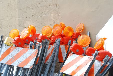 Stack of traffic barricades Stock Photo