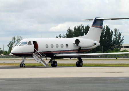 awaiting: Charter jet awaiting passengers