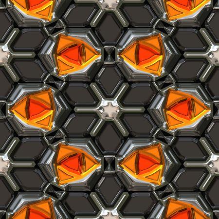 Orange gems set in metal Фото со стока