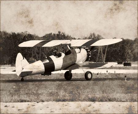 wartime: Antique biplane on display