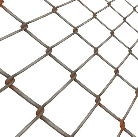 rusty chain: Rusty chain link fence Stock Photo