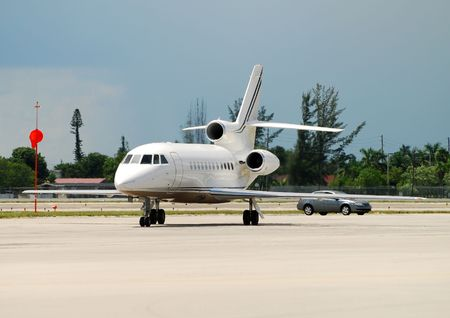 Front view of stationary charter jet