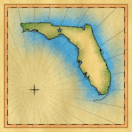 dessin au trait: Antique Carte de la Floride Banque d'images