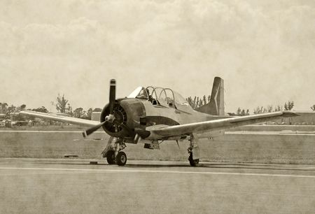 wartime: Black and white photograph of classic wartime airplane