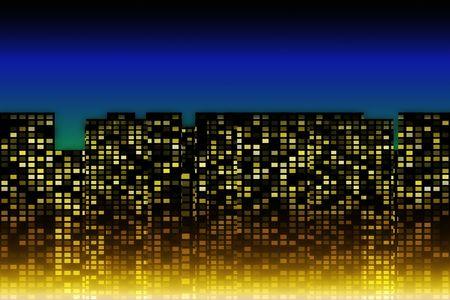 dwell: modern cityscape illuminated at night
