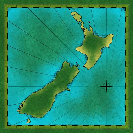 Old hand drawn map of New Zealand Banco de Imagens